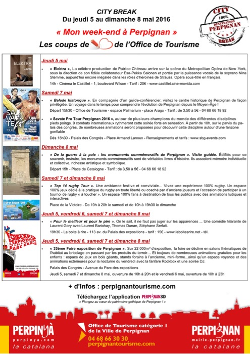 City Break Perpignan week-end du jeudi 5 au dimanche 8 mai