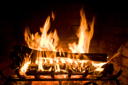 Flames burning wood in a fireplace