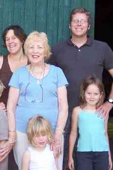 Left to right Rachel, Jonathan's Mum (alias Granny Hesford), Isabella (4), Jonathan and Lydia (7)