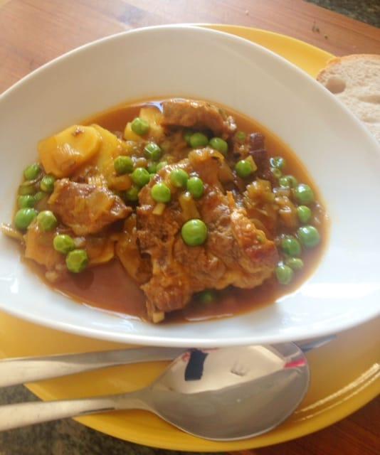 Pork Braised With Saffron & Peas