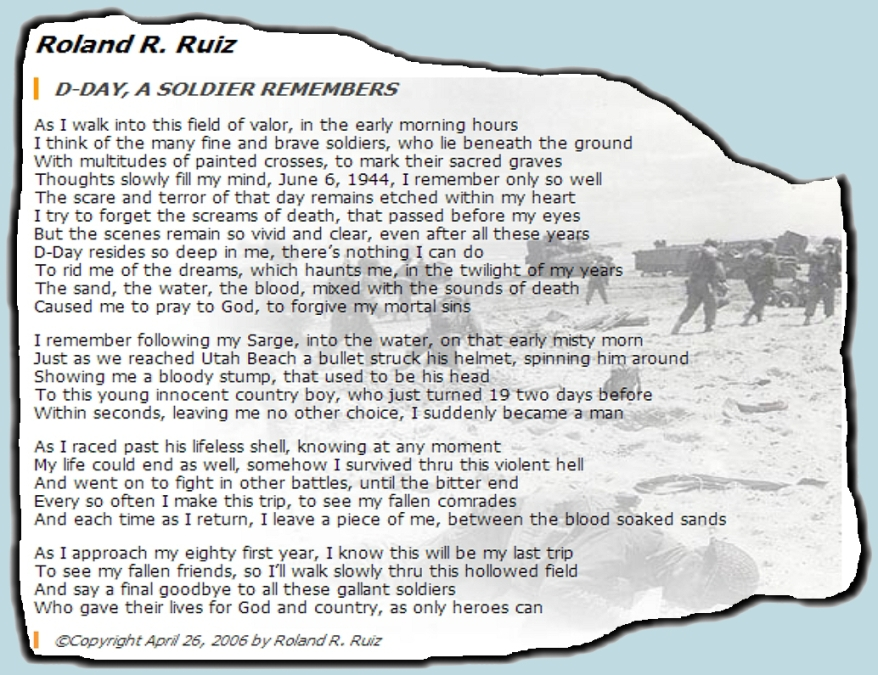 ROLAND R RUIZ D-DAY POEM 3