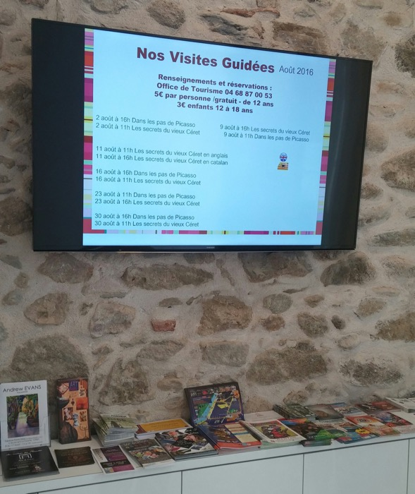 One of the relocated office's high-tech features, screen showing Ceret events for current month.