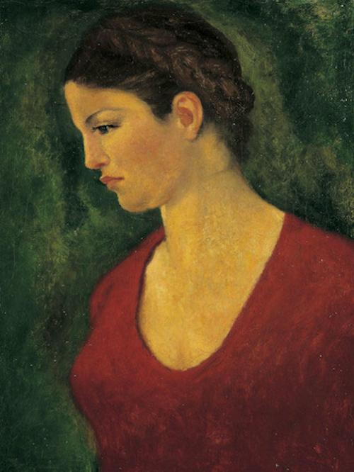 Dina Vierny Maillol red dress
