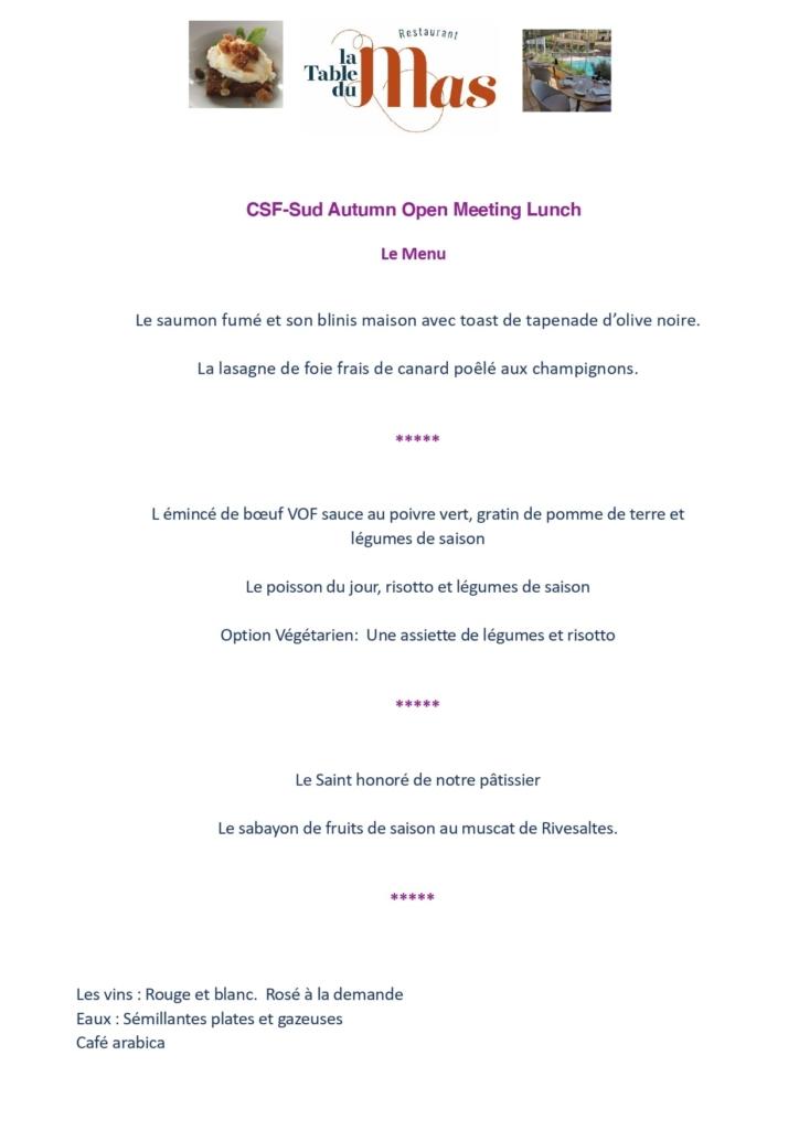 CSF Autumn Open meeting