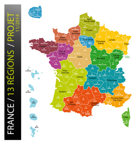 Map of 13 French regions