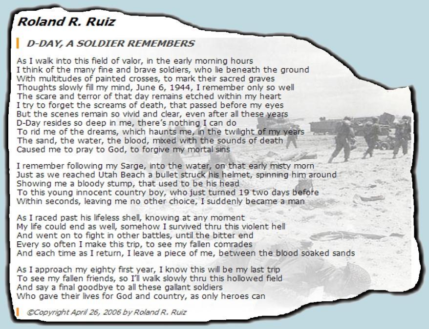 WAR ROLAND R RUIZ D-DAY POEM 3