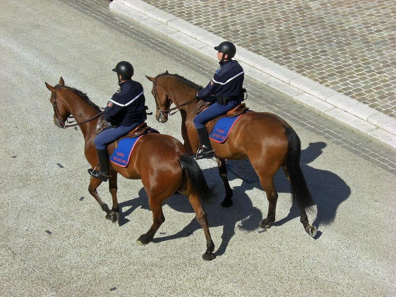 French police patrol PERPIGNAN ON HORSEBACK